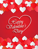 Happy Valentines Day red greeting card. Vector illustration. EPS10