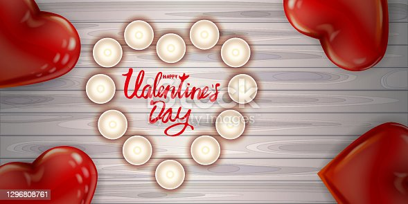 istock Happy Valentines Day red heart shape glossy balloon realistic, lettering, background wood table pink heart ballons, candles top view, greeting card. Vector banner poster flyer isolated 1296808761