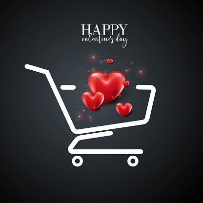 Happy Valentine's Day. Red hearts in the shopping cart. Realistic vector design for use as shopping concept, sale banner, grand opening.