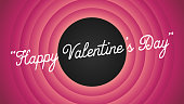 Happy Valentine's Day retro cartoon movie style background vector illustration