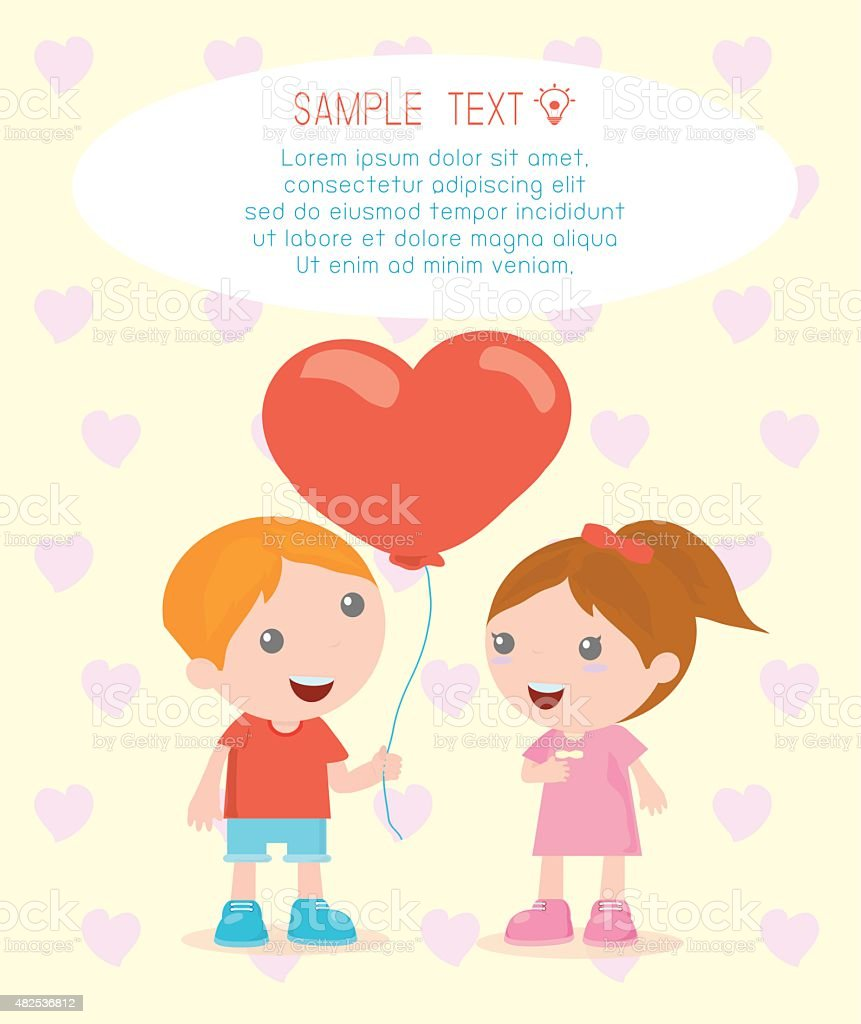 Love Happy Valentines Day Romantic Couple Vector Illustration