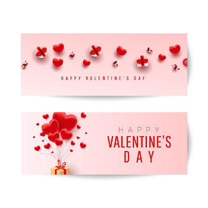 Happy Valentine's Day Romantic creative banners set with realistic 3d bauble love shape, red gift and text on pink background. Design template for advertising, web, social media.