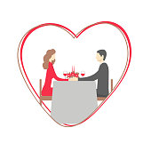 Happy Valentine's Day. Romantic dinner. Happy couple sitting at restaurant table. Vector illustration