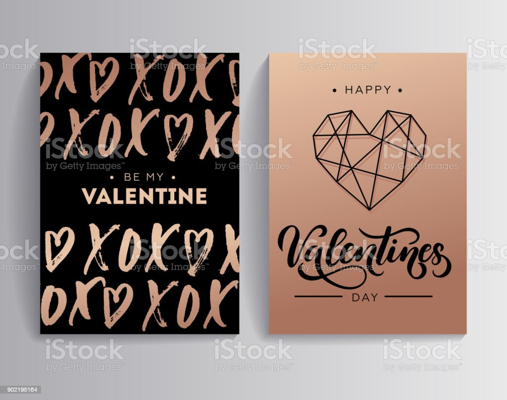 Happy valentines day rose gold greeting card set with lettering card happy valentines day rose gold greeting card set with lettering card xoxo hugs and m4hsunfo