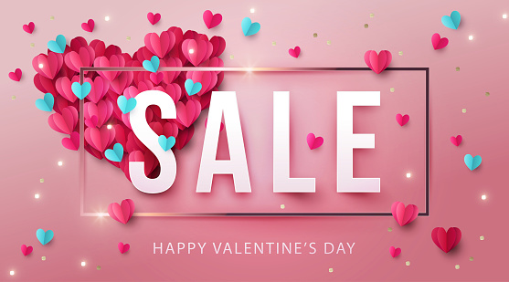 Happy Valentine's Day Sale Banner, poster or flyer design with big heart made of pink and blue Origami Hearts and gold glitter.