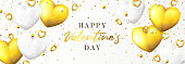 Happy Valentine's Day sale banner. Vector illustration with realistic flying golden hearts and confetti on white background. Holiday greeting card, horizontal promo banner.