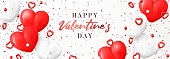 Happy Valentine's Day sale banner. Vector illustration with realistic flying red and white hearts, balls and confetti on white background. Festive greeting card, horizontal promo banner.
