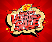 Happy Valentines day sale poster concept, holiday explosive sale design