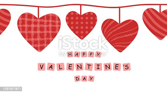 istock Happy Valentine's day seamless vector banner hand drawn illustrations. 1297917871