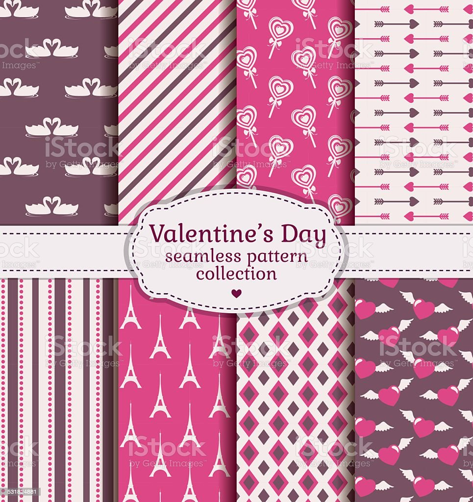 Happy Valentine's Day! Set of love and romantic seamless patterns. vector art illustration