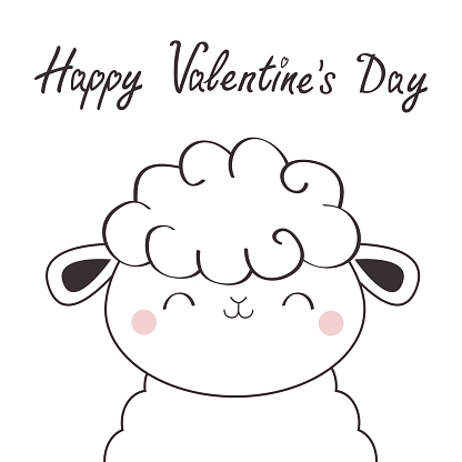 Happy Valentines Day. Sheep lamb face head icon. Linecontour silhouette. Cute cartoon kawaii funny smiling baby character. Nursery decoration. T-shirt print. Flat design. White background.