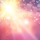 Happy valentines day shiny sunlight heart bokeh with lens flares on pink background. Vector illustration.