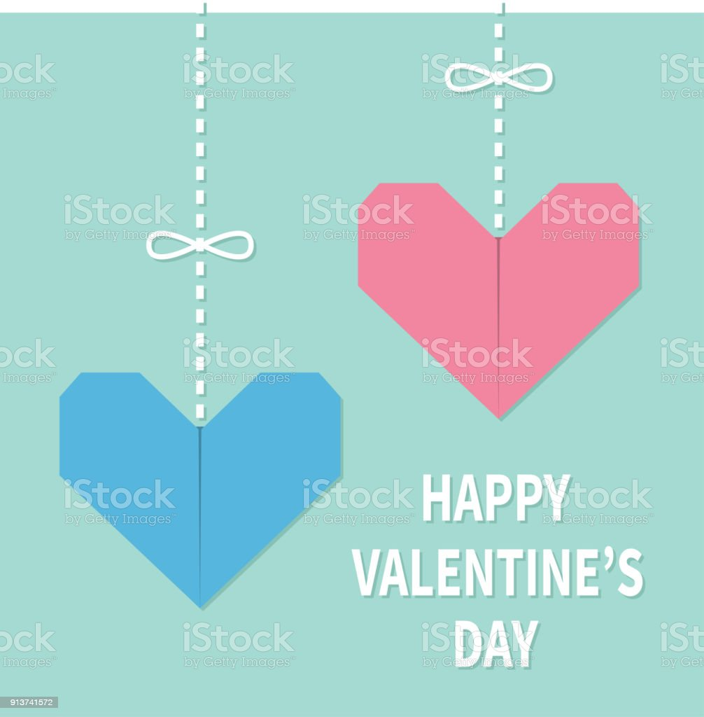 Happy valentines day sign symbol pink blue origami paper hearts dating heart shape manufactured object origami sign jeuxipadfo Gallery