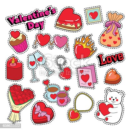 happy valentines day stickers patches badges stock vector art 638622222 istock - Valentines Day Stickers