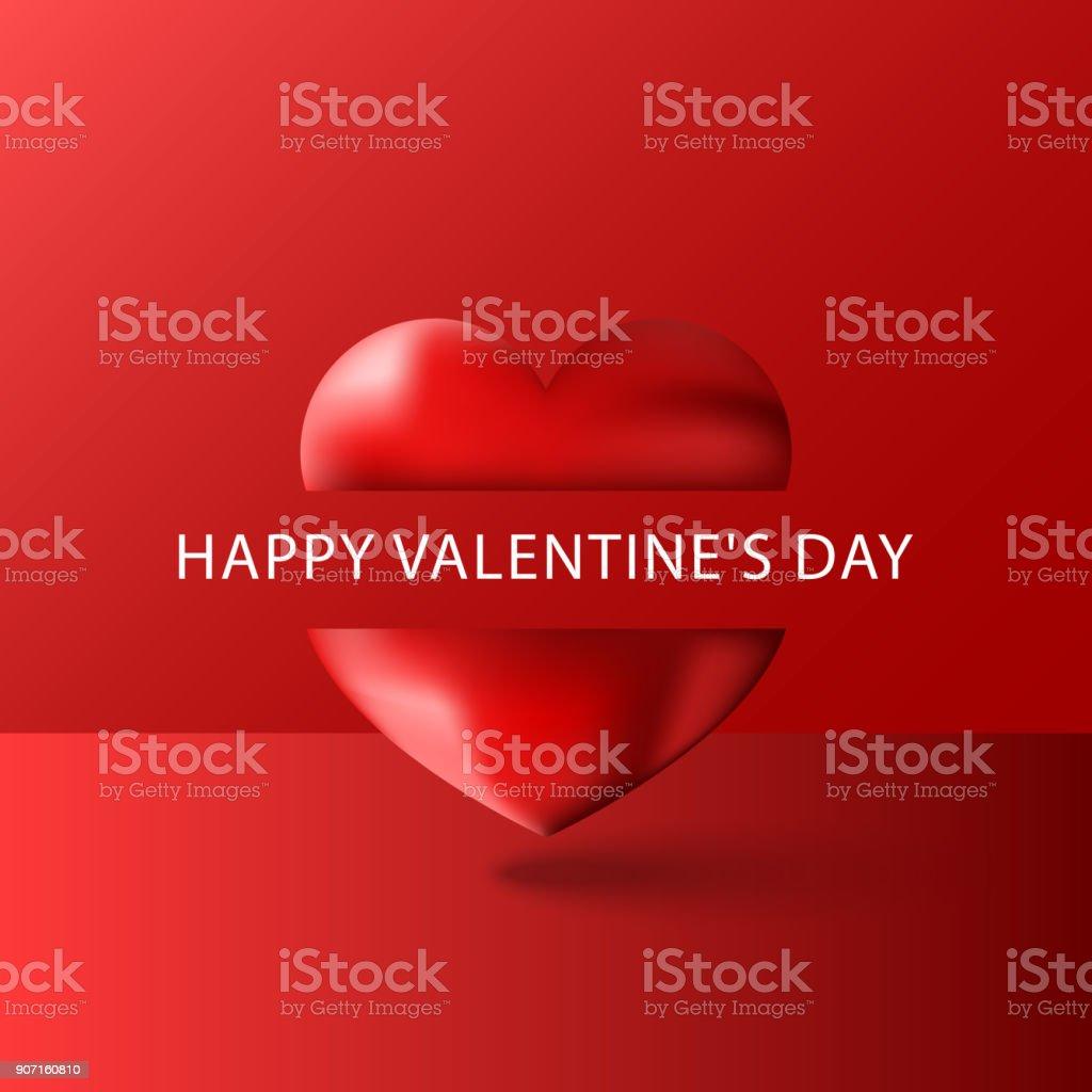 Happy Valentines Day Text Grußkarte Leer Lila Volumetrische 3d Herz ...