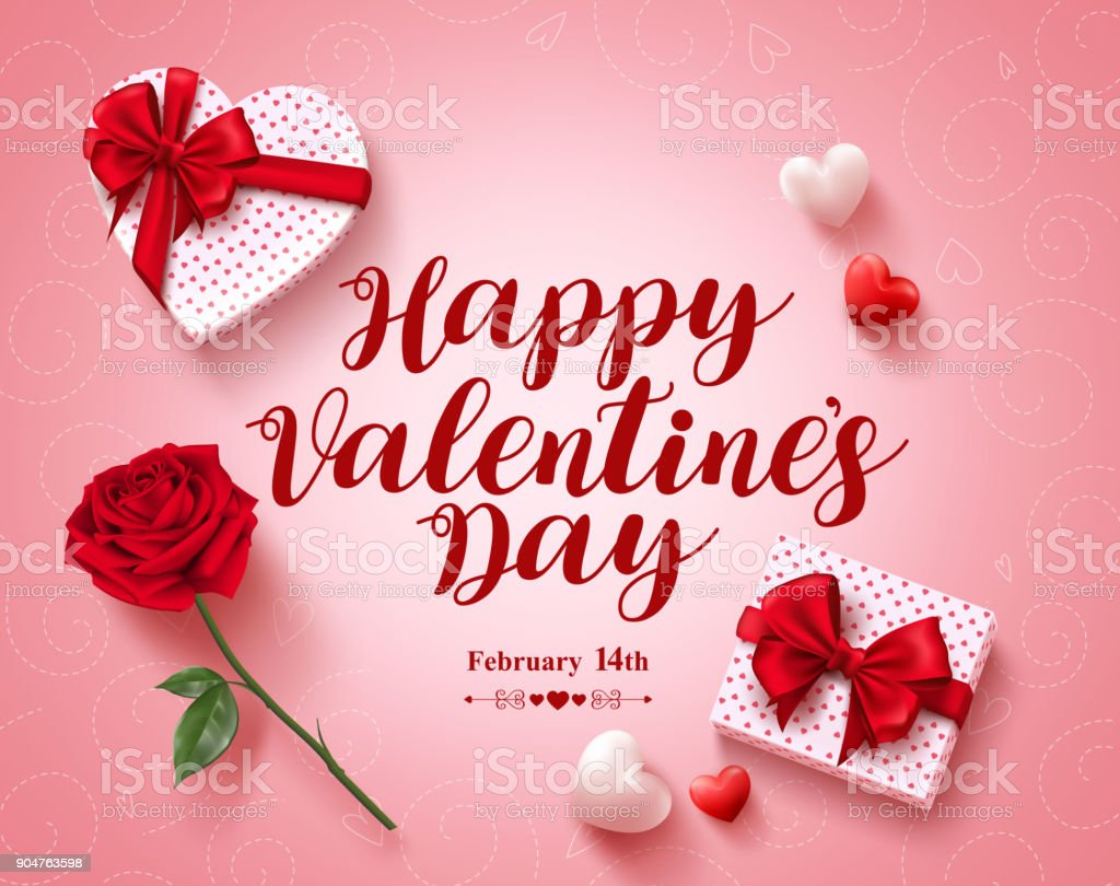 Happy Valentines Day Text Greeting Card Vector Design With Love