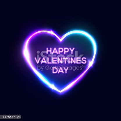 Happy Valentines Day text in heart shaped neon sign. Bright greeting card design on dark blue night background. Decorative electric led light lamp banner. Color vector illustration in retro 80s style.