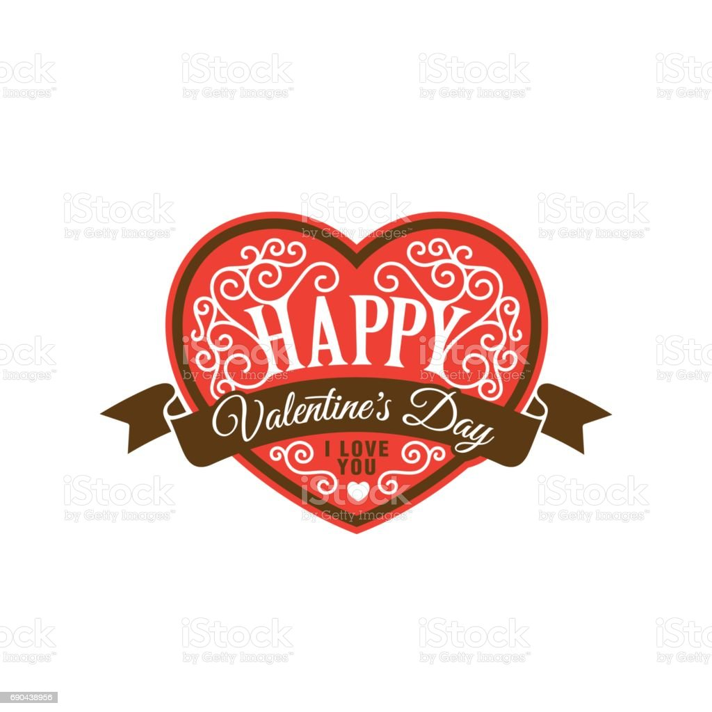 Happy Valentines Day Text Lettering Heart Shape Vector Poster Design Template Creative Invitation Card As