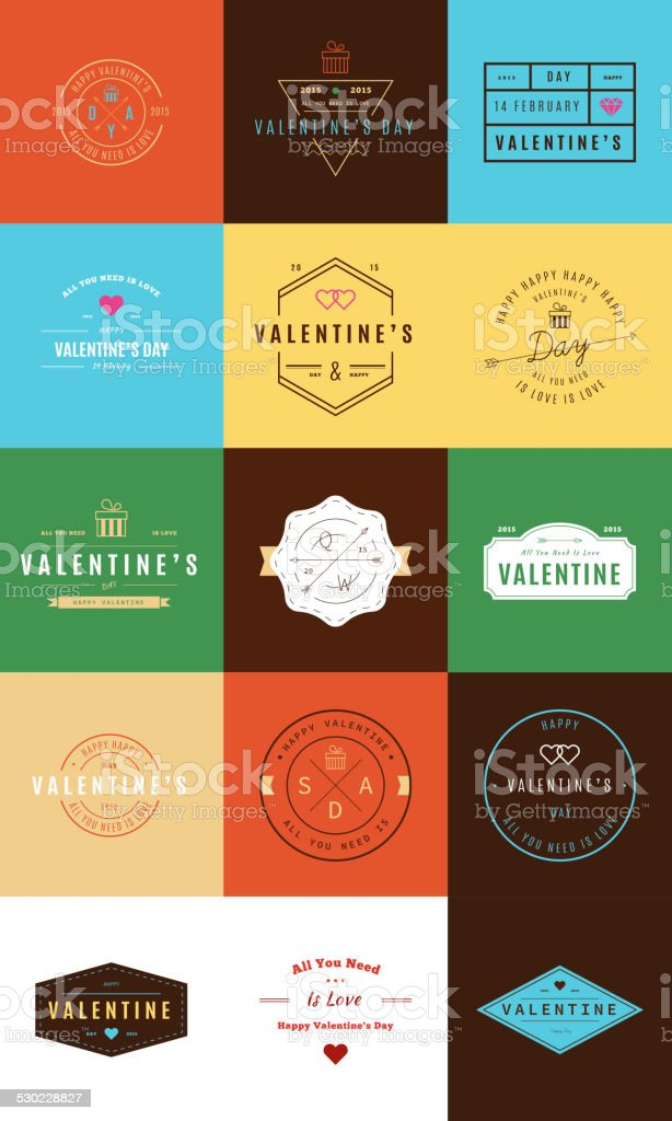 Happy Valentine's Day. Trendy Retro Vintage Insignias vector art illustration