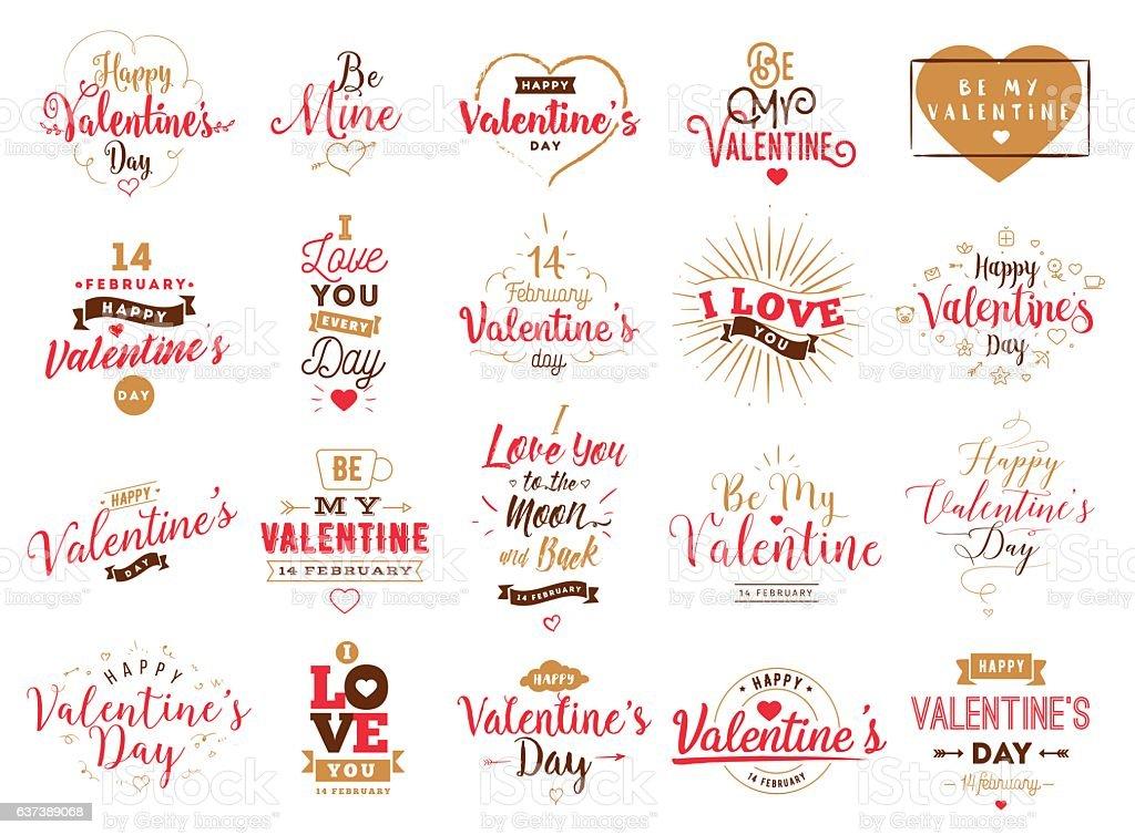 Happy Valentines day typography. Vector design. ベクターアートイラスト