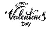 "Vector hand drawn ""Happy Valentine's day"" inscription in black"
