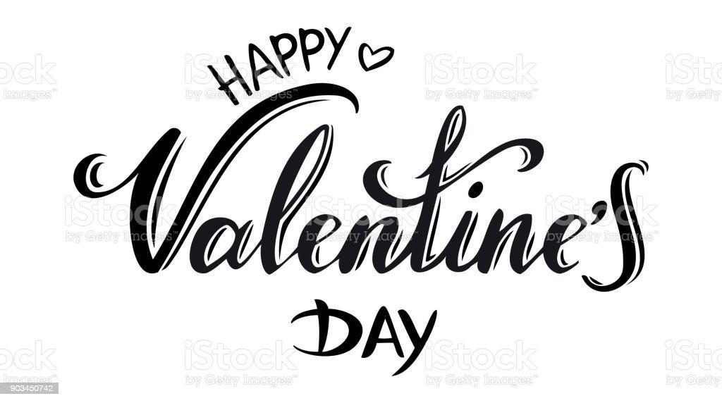 Happy Valentine's day typography vector art illustration