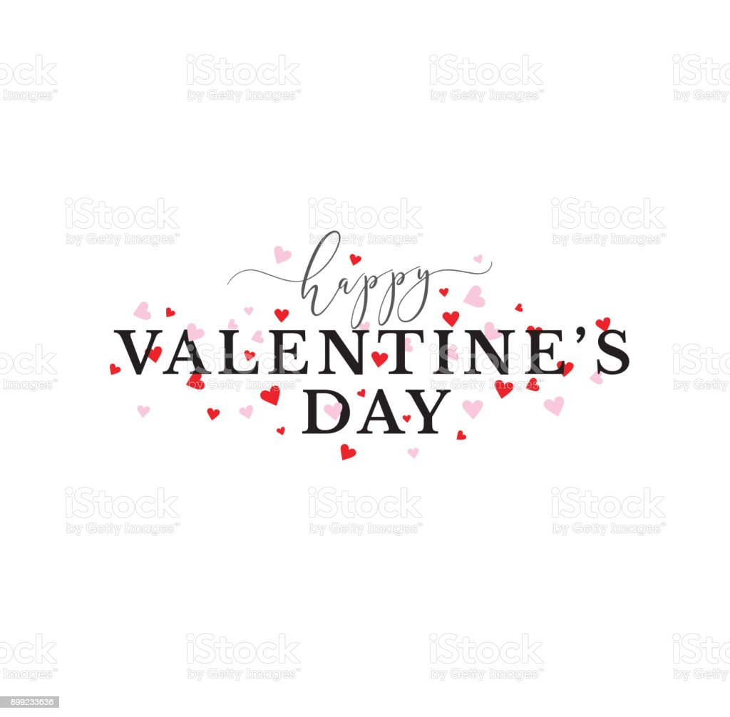 Happy Valentine's Day Typography with Pink and Red Hearts