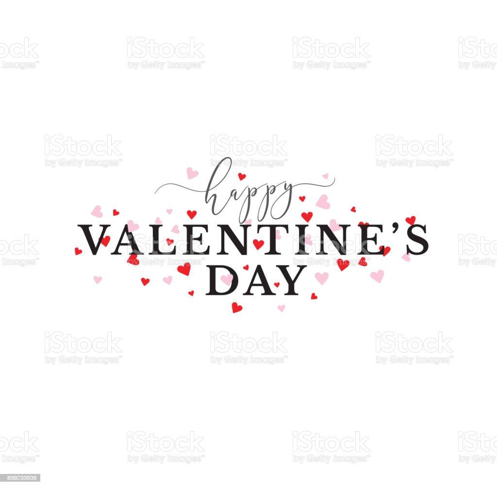 ピンクと赤のハートを持つ幸せなバレンタインデーのタイポグラフィ ベクターアートイラスト