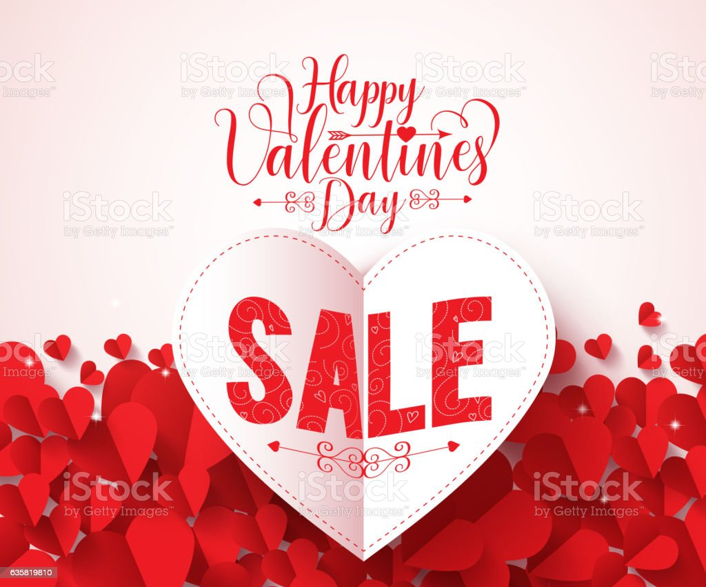 Happy valentines day typography with sale text vector design vector art illustration