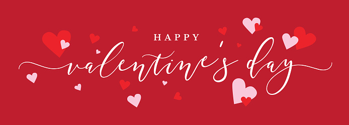 Happy Valentine's Day Vector Calligraphy with Pink and Red Hearts Over Red Background