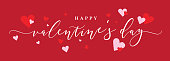Happy Valentine's Day Vector Text Calligraphy with Pink and Red Hearts Over Red Background