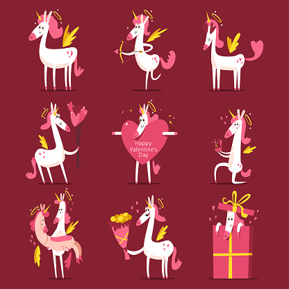 Happy Valentines day vector cartoon illustration with cute unicorn cupid with halo and angel wings.