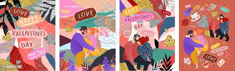 istock Happy Valentine's Day! Vector cute illustrations of a couple in love for background, card or poster. Abstract trendy modern print for the holiday. 1195640182