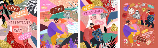 Happy Valentine's Day! Vector cute illustrations of a couple in love for background, card or poster. Abstract trendy modern print for the holiday. vector art illustration