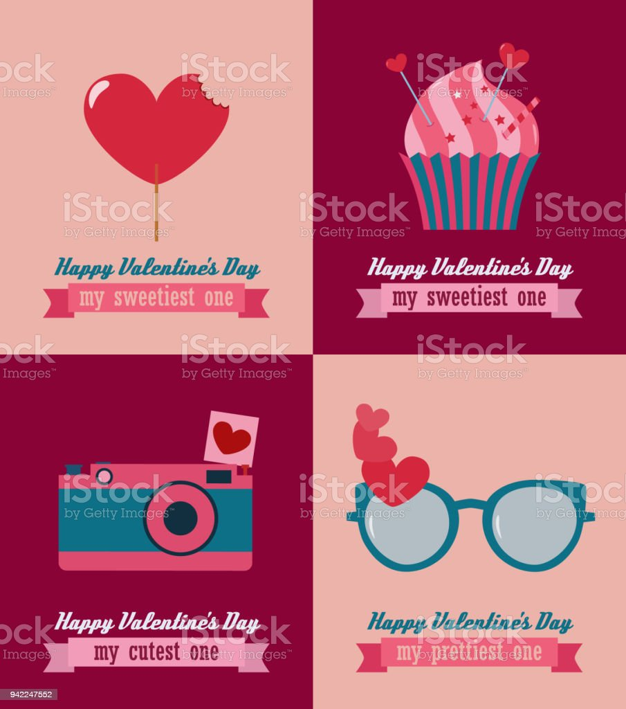 Happy Valentines Day Vector Greeting Cards Stock Vector Art More
