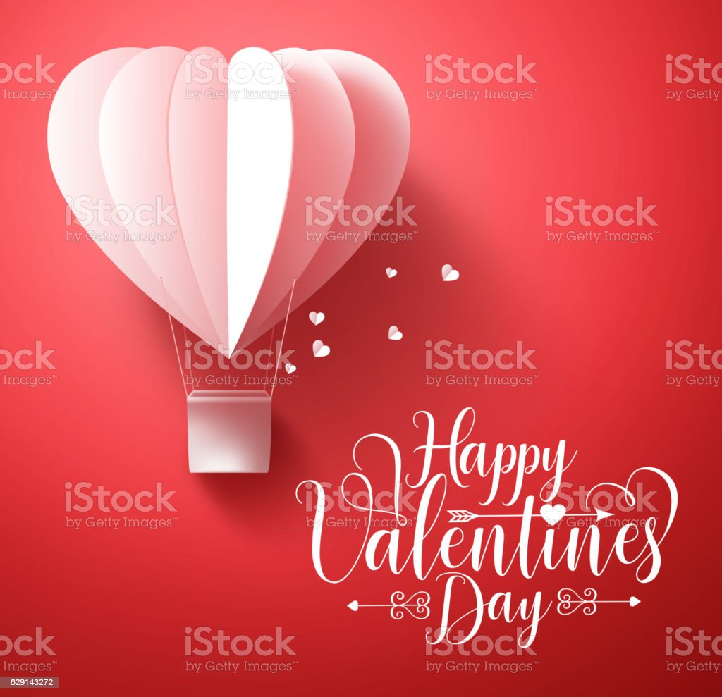 Happy valentines day vector greetings card design with heart balloon vector art illustration