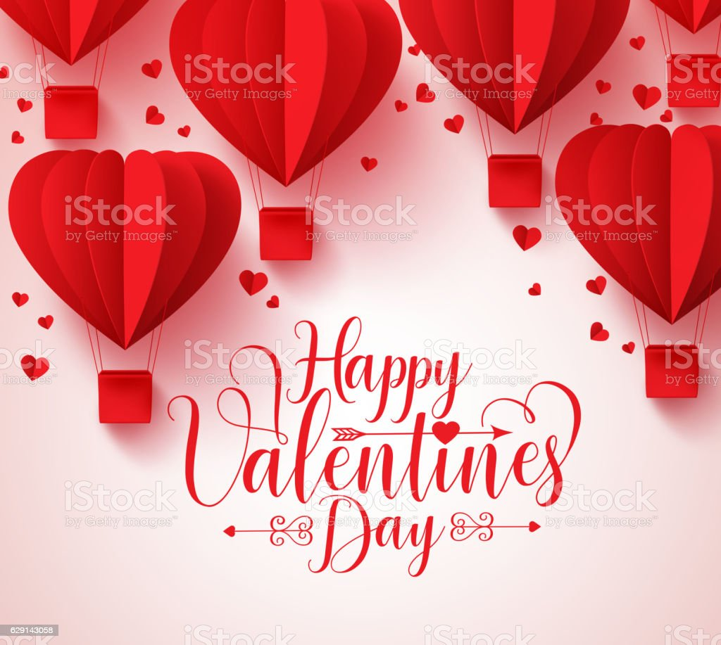Happy valentines day vector greetings card design with paper cut vector art illustration