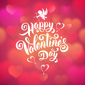 Calligraphic Lettering text Happy Valentines day on pink blurred background with hearts. Vector illustration.