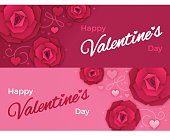 Happy Valentine's Day banners 851x315 size perfect for social media. EPS 10 file. Transparency effects used on highlight elements.