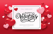 Happy Valentines Day romance greeting card with red and pink hearts background