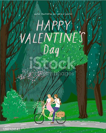istock Happy Valentine's day! Vector illustration for the holiday of February 14 -  date on the bike in the forest on nature. Drawing for background, card or poster. 1202124141