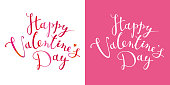 Happy Valentine's Day vector card with calligraphic hand drawn lettering design. Creative typography for sales, greeting cards, posters, banners and decoration.