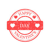 Happy Valentines Day Vector Stamp Isolated on Light Background