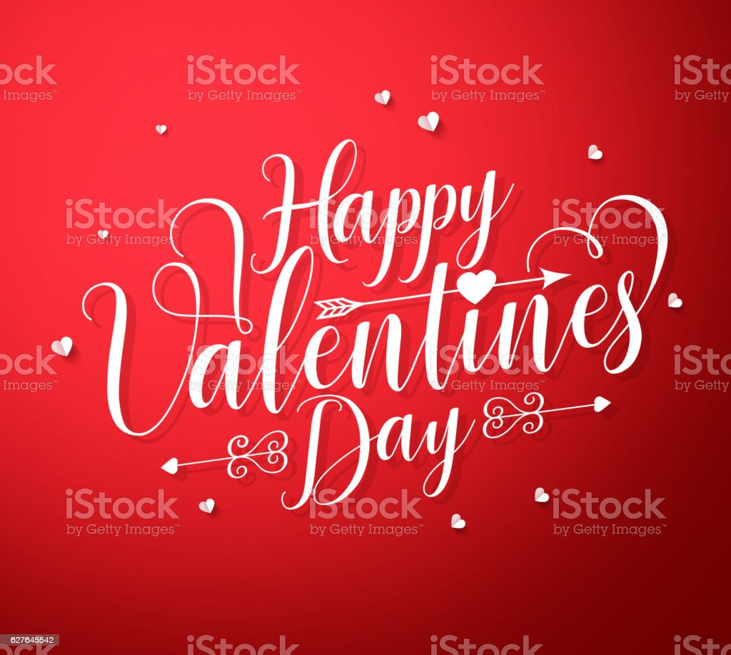 Happy valentines day vector text typography with paper cut hearts vector art illustration
