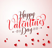 Happy valentines day vector typography or calligraphy with paper cut red hearts elements in white background. Vector illustration.