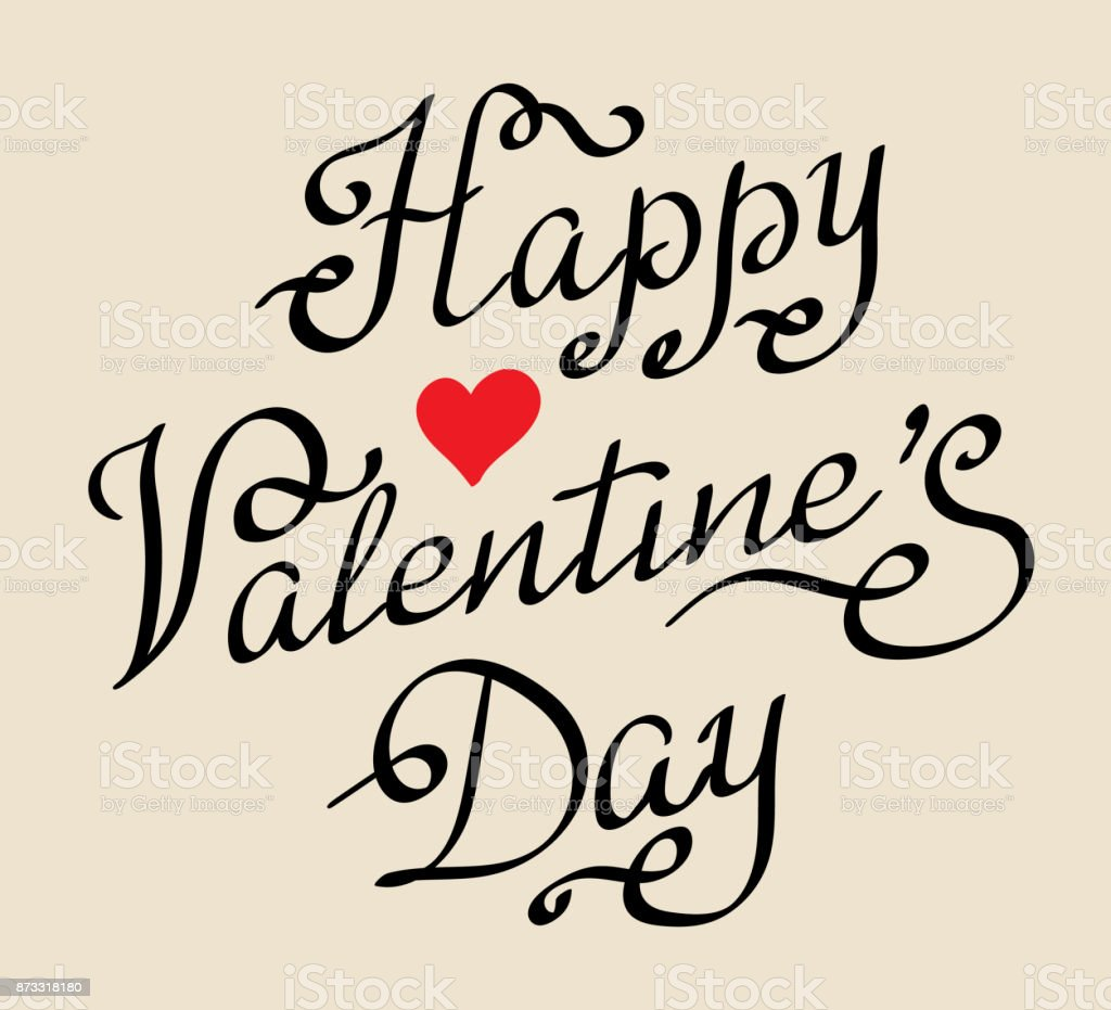 Happy Valentines Day Vintage Hand Drawing Stock Vector Art More