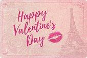 Happy Valentine's Day Vintage Love Card Romance Paris
