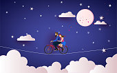 A Couple riding bicycle to the night sky. Love concept. Happy Valentine's Day wallpaper, poster, card. Vector illustration