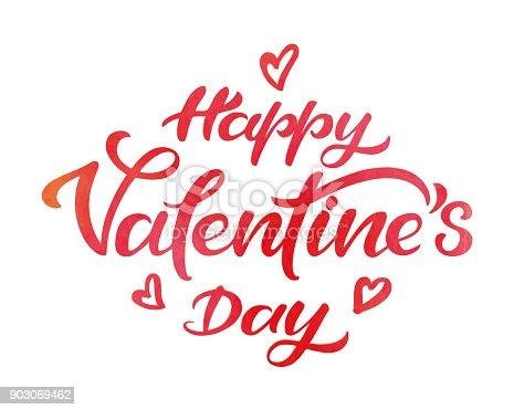 istock Happy valentine's day watercolor typography 903069462