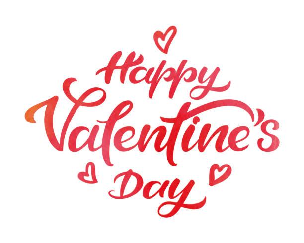 Happy valentine's day watercolor typography vector art illustration